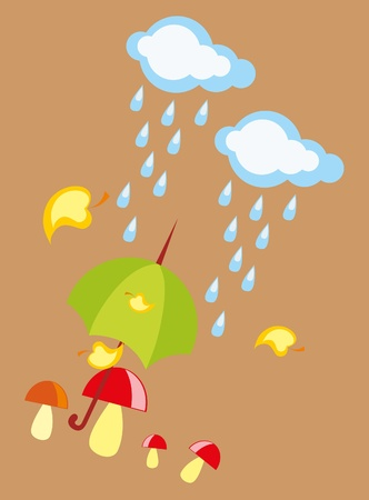 baby drawing - a rainy autumn, mushrooms and umbrella Vector