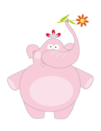big pink elephant and flower Vector