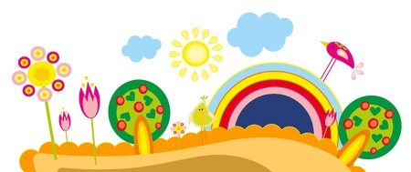 baby drawing - a tree, birds and rainbow