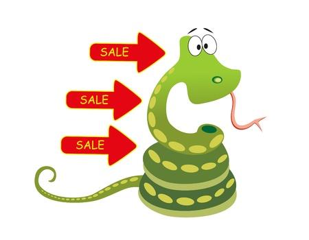 python: sale green snake on white background
