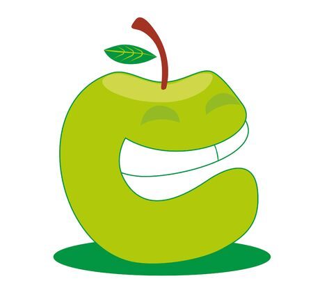 green apple: manzana verde aislado Vectores