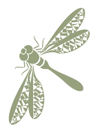 dragonfly wings: abstract tattoo -  insect dragonfly on white background Illustration