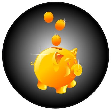 cerdo caricatura:   hucha y moneda