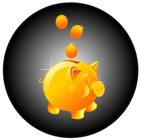 cartoon pig:   piggy bank and coin Illustration