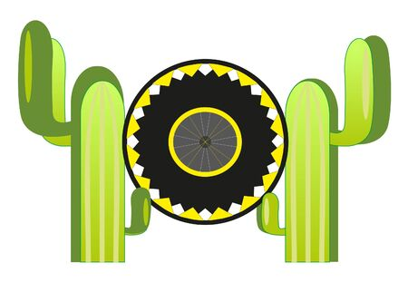 sombrero and two cactus Illustration