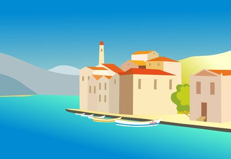 vector drawing - a city by the sea Stock Vector - 8542699