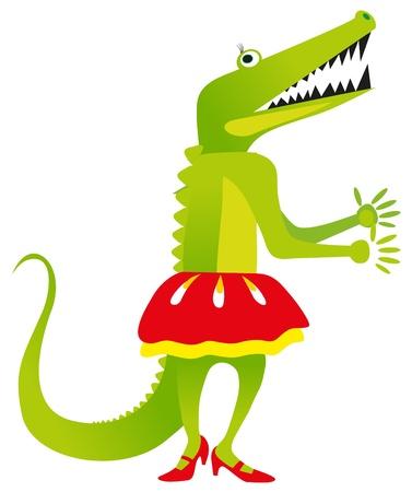 loafer: vector illustration - green crocodile dance