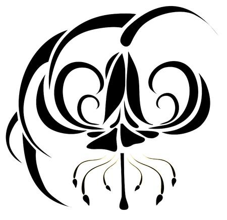 vector tattoo flower on background Stock Vector - 8542703