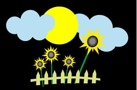 sunflower and sun Stock Vector - 8542690