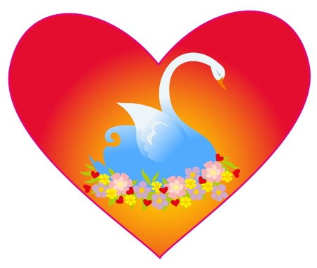 illustration. Love swan. Vector