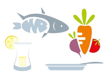 food set - beet, tomato, lemon, goblet, fruit, fish, pan, plate Vector