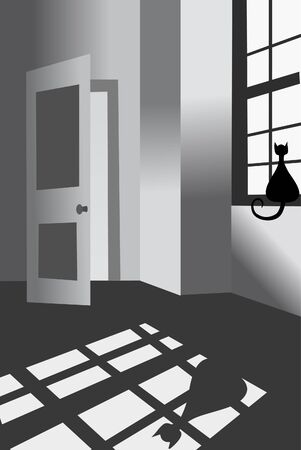 Domestic interior. Cat and window. Vector