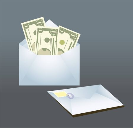 bribe: bribe in envelope on gray background