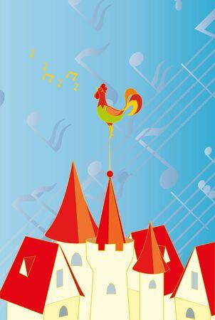 rooster at dawn: cazzo colore sullo sfondo delle note