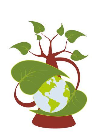 medio ambiente: Planeta de abrazos de hoja de �rbol Vectores