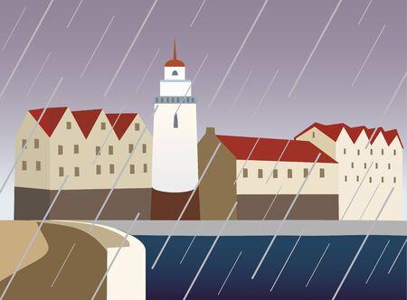rain window: town and rain Illustration