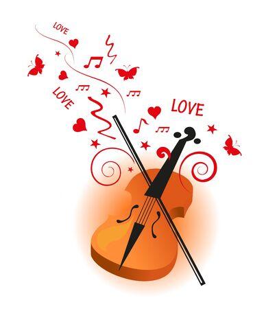 violin love background Illustration