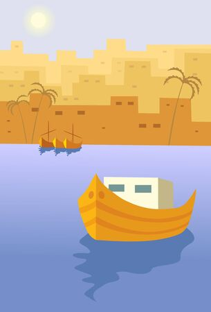 man and boat on town background Vector