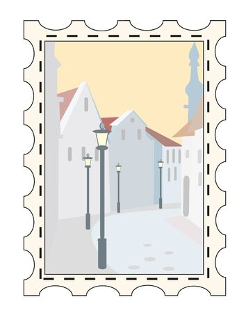 postage stamps - snow town Stock Vector - 8597626