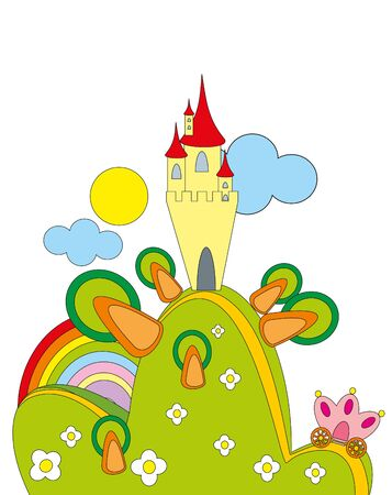 illustration. Castle and road. Vector