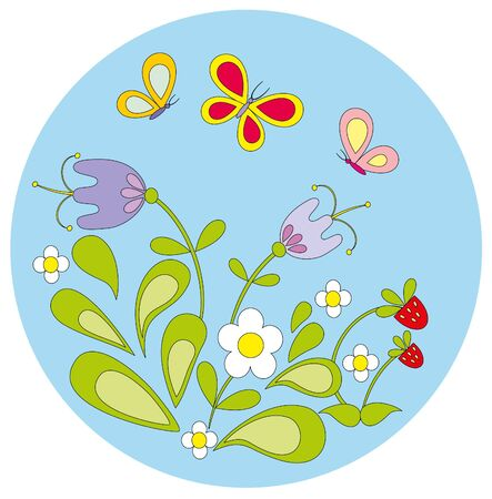 illustration. Flower and butterfly.