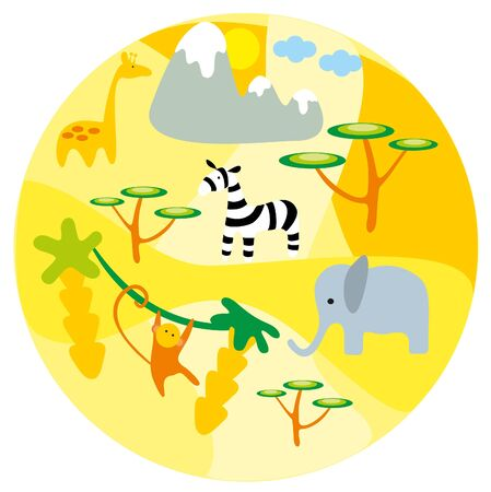 illustration. Zoo. Africa animals. Vector