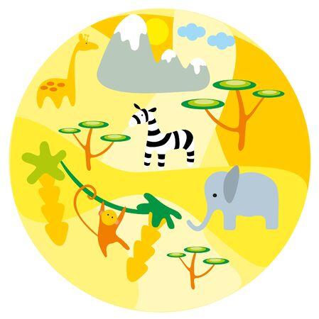 illustration zoo: illustrazione. Zoo. Africa animali. Vettoriali