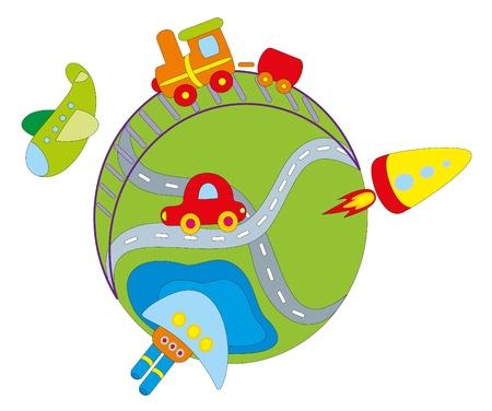 illustration. Transport. Vector