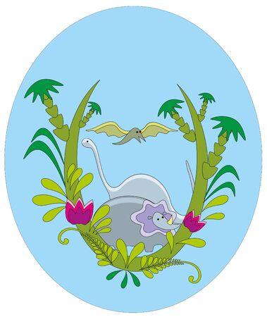 illustration. Dinosaurs. Vector