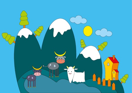 illustration. Farm animals. Stock Vector - 8628989