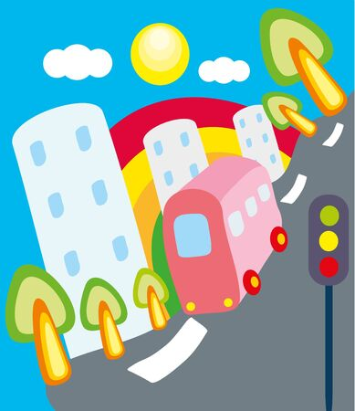 illustration. Town and bus. Vector