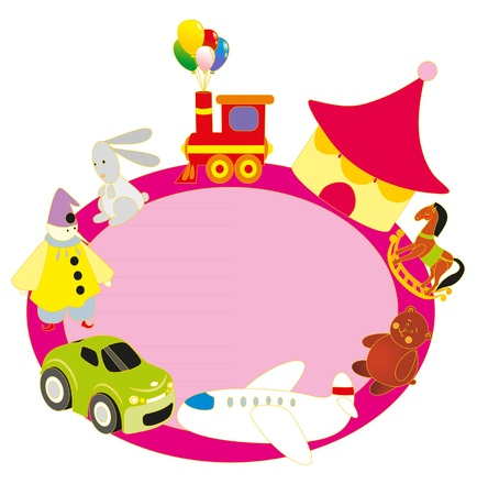 illustration. Toys and circus banner. Vector