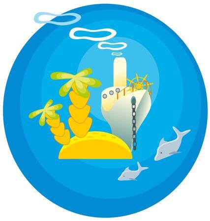 steamship: illustration. Island and steamship.