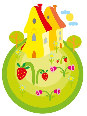 illustration. House on planet. Stock Vector - 8692966