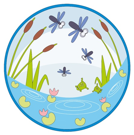 illustration. Cane and dragonfly. Vector