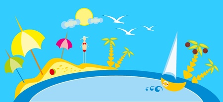 baby drawing - a beach and sea, sun and sky Stock Vector - 8693001