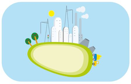 cartoon city and plant Vector