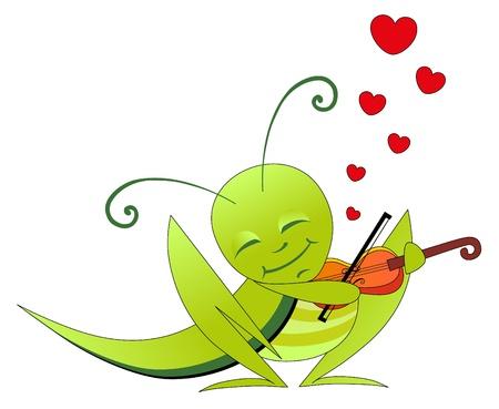 grasshoppers: Vector illustration. Valentine love grasshopper and violin. Illustration