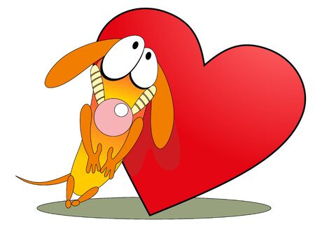 Vector illustration. Valentine love dog. Vector