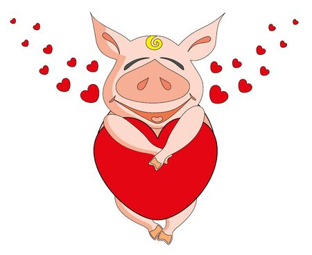 cute pig: Vector illustration. Two valentine love pig.