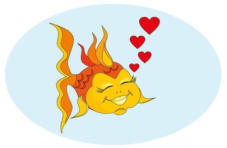 Vector illustration. Valentine love fish. Vector