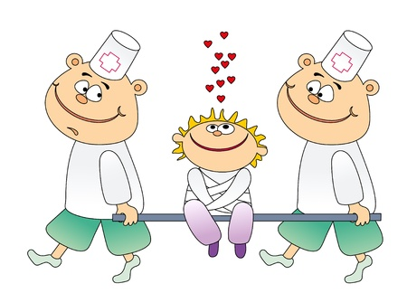 paciente en camilla: Ilustraci�n vectorial. Paciente feliz y dos m�dicos