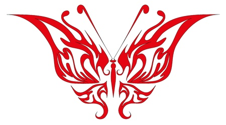 Vector illustration. Tattoo red butterfly Vector