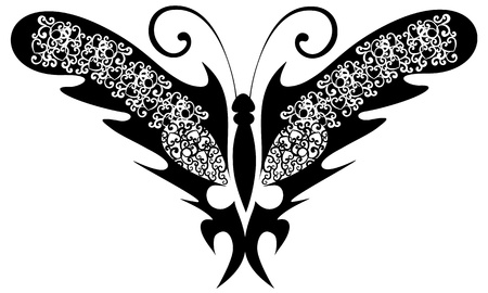 Vector illustration. Tattoo black butterfly Vector