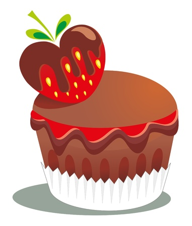 Cake and berry Vector