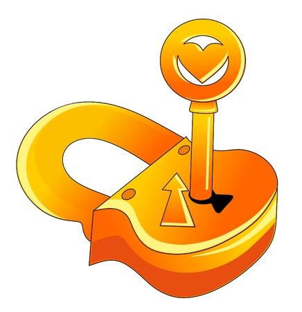 slot met sleuteltje: Vector illustration. Lock and key