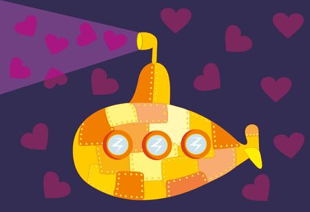Vector illustration. Love submarine Vector