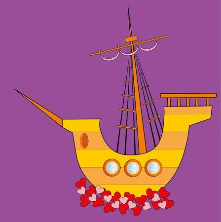 sailing vessel: Ilustraci�n vectorial. Velero de amor Vectores