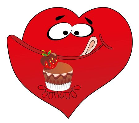 Vector illustration. Heart and cake Vector