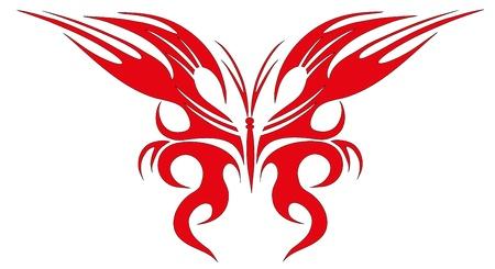 Vector illustration. Tattoo red butterfly Vector